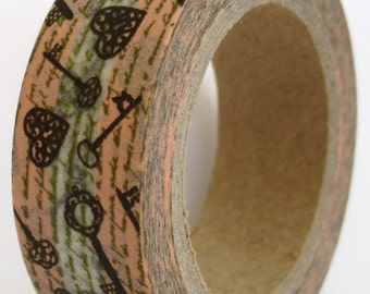 """CLEARANCE Washi Tape """"Key to my Heart""""  10 Meters"""