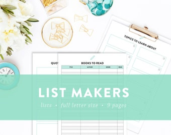 EDITABLE - List Makers Kit - Places to go, Books to read, Movies to watch, Recipes to try, and more -  INSTANT DOWNLOAD