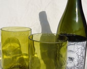 Wine Bottle Glasses made from Recycled Yellow Wine Bottles 12oz  Set of 2