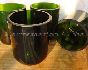 Champagne Bottle Glasses Emerald Green Set of 4