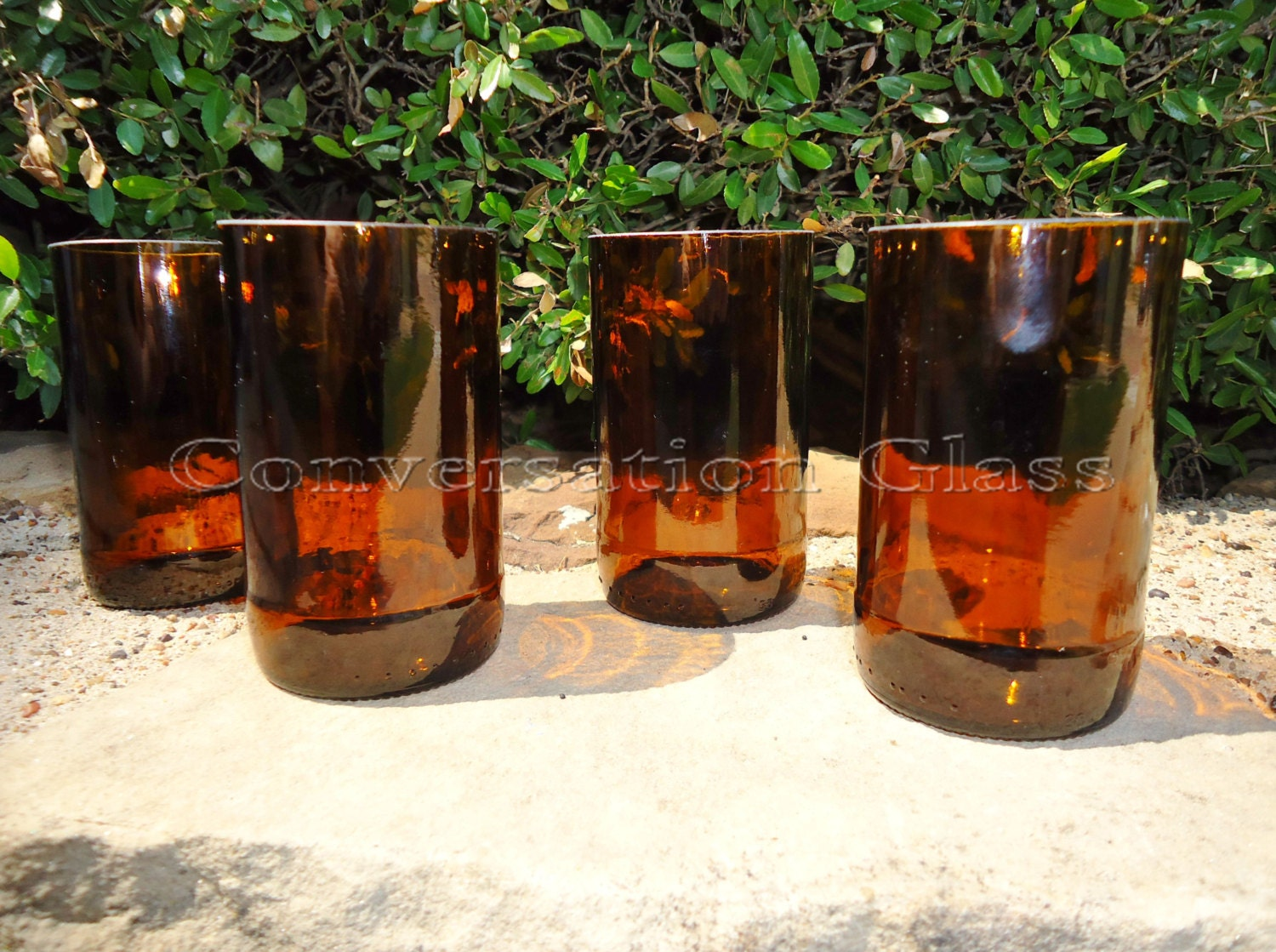 Beer bottle glasses made from recycled beer bottles in amber for Making glasses from bottles