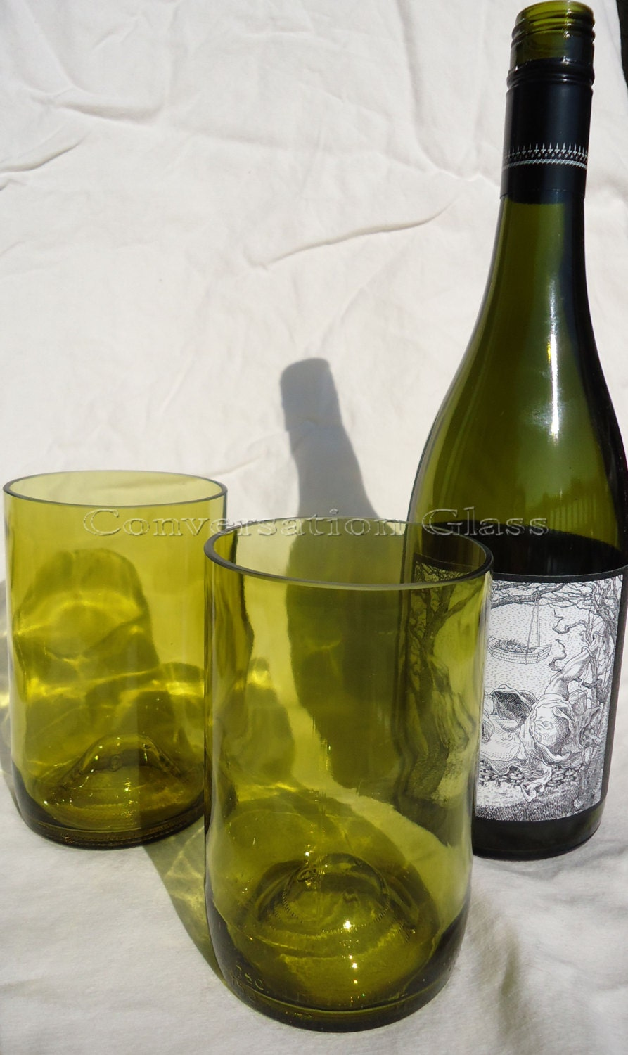 wine bottle glasses made from recycled yellow wine bottles