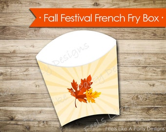 Fall Festival French Fry Box- Instant Download