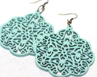 Wooden Earrings - Mint earrings, Filigree earrings, Large Wood Carved Earrings