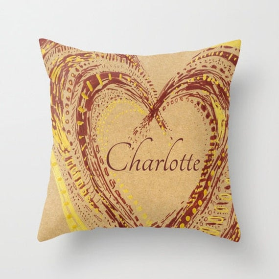 Personalized Heart Throw Pillow : Personalized Heart Rustic Throw Pillow Cover by lake1221 on Etsy