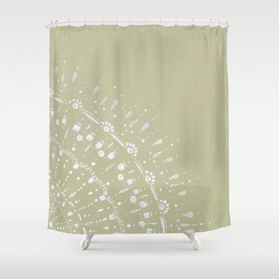 Items Similar To Green Grey Lace Shower Curtain Neutral Shower Curtain Show