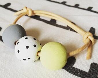3 bead friendship bracelet wooden hand painted dot & block pastels