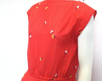 Sweet Red Floral Vintage 100% Cotton Dress, Small