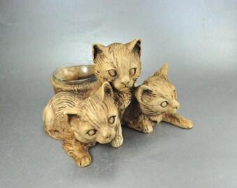Kitty Cat Votive Candleholder Brown Kitten Figurine Signed Ricardo Vintage