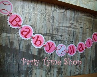 Baseball Name Banner , Baseball Decorations , Baseball Birthday Baby Shower Sprinkle, A League of their Own, Pink White and Red