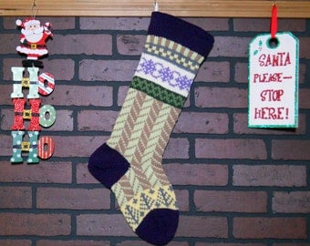 Purple Christmas Stocking, Hand Knit with Herringbone Design in Green and Taupe, Trees, Fair Isle, can be personalized, Housewarming Gift