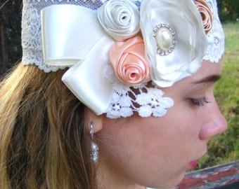 Bridal  Fascinator,  Bridal Flower Hair  piece, Bridal Lace Flower  hair piece, Vintage style