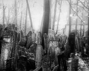 Jewish Cemetery Prague, Black and White Prague Photography,Travel Photo, Historic Prague Cemetry