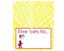 Elmo Loves His...Food Sign Tent Cards- Customized Digital File