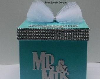 Blue Bling Wedding Card Box Bling Mesh Ribbon Money Holder Advice Box Baby Shower Sweet Sixteen Aqua Blue Mr & Mrs