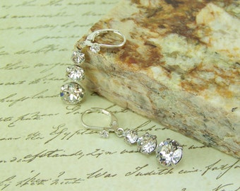Crystal Earrings, Triple Crystal Earrings, Dangle Crystal Earrings, Silver Crystal Earrings, April Birthstone Earrings, Bridal Earrings