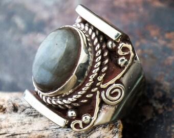 Labadorite Tibetan Saddle Ring Himalayan Tribal Jewelry