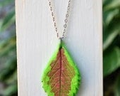 Leaf Necklace - Air Dry Clay - Green Burgundy - Coleus Leaf - Woodland - Nature  - Gardener Gift - Real Leaf Imprint -Modern - Minimalist