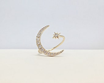 Diamond Crescent Moon and Star Ring