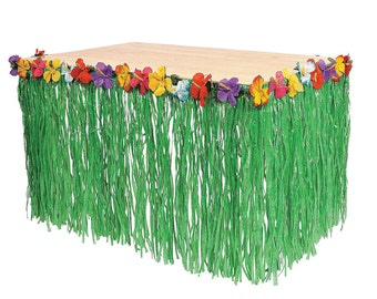 Green Grass Table Skirt with Hibiscus Flower Lei Border Tropical Hula Hawaiian Luau Party Decoration 29 inches x 9 ft VM1123