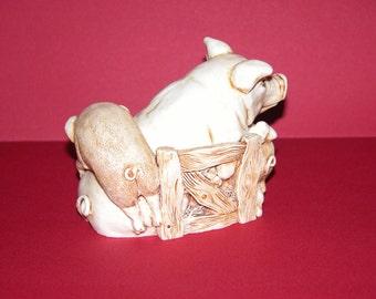 Vintage Mum Pig and Piglets Unique Trinket Box sculptured in Resin