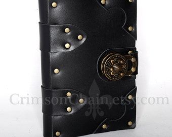 Black leather sketchbook cover - Large - by Crimson Chain Leatherworks