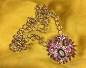 Juliana D&E Delizza Elster watermelon rhinestone assemblage pendant necklace using long curb chain boho chic mod collectible costume jewelry