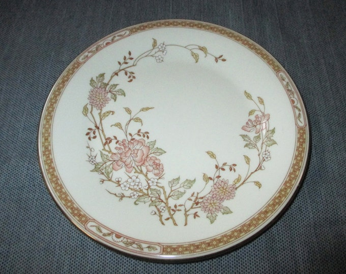 "6.5"" Royal Doulton LISETTE Bread & Butter Plate, Tan Band, Pink Floral, Gold Trim, ca. 1980s"