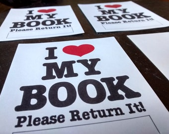 80s I heart My Book Please Return It gummed label bookplates 90s vintage ex libris accessory label stickers Easter Mother's day book lover