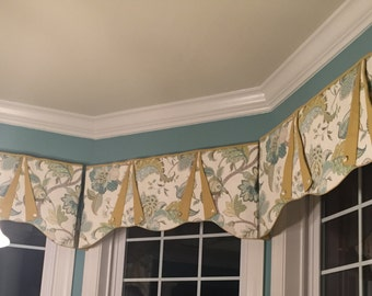 "Custom Window Treatment CASEY Hidden Rod Pocket valance, fits 45"" - 60"" window, constructed using your fabrics, my LABOR and lining"