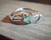 Zambian Natural Emerald Ring Silver Emerald Ring Everyday Ring Designer Setting Untreated Emerald Gift For Her