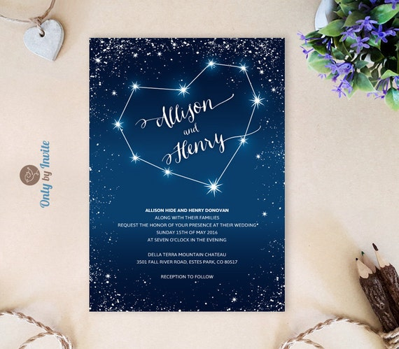 Romantic wedding invitations printed starry night wedding for Space themed stationery