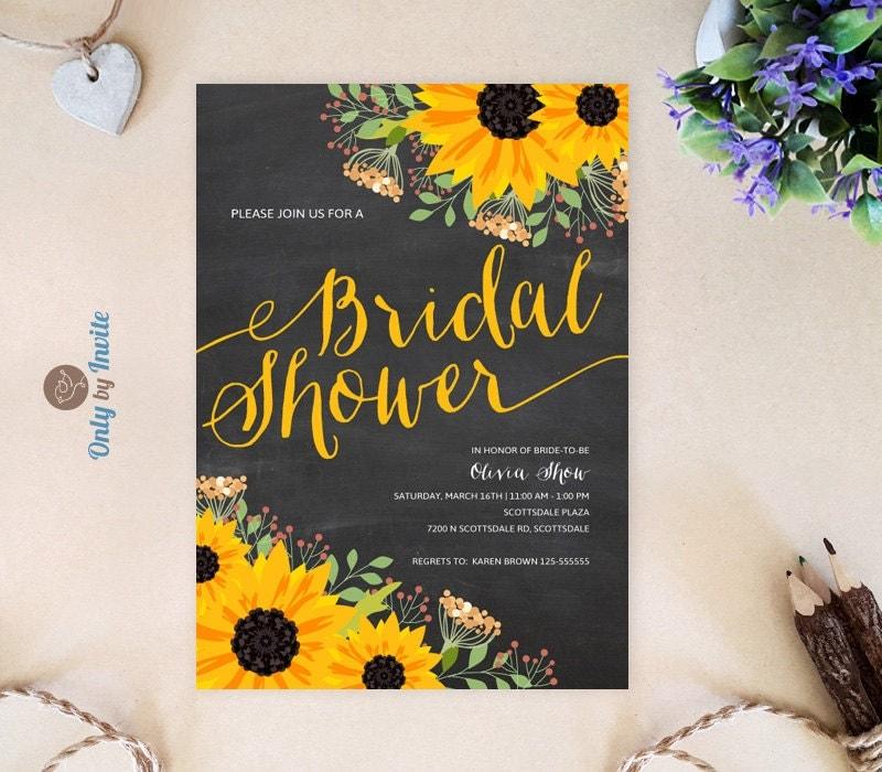 Chalkboard Sunflower Bridal Shower Invitation Printed On