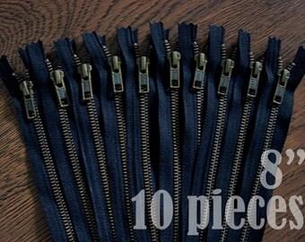 metal zippers, navy blue zippers, jean zippers, antique metal zipper, antique brass zipper - 8 inch - 10 pieces