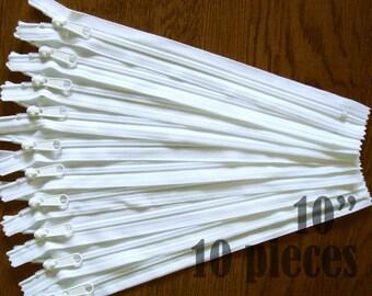 "white zippers, handbag zippers, purse zippers, 10"" zippers, ykk zippers, 10 inch zips, wholesale zippers, bulk zippers - no. 4.5 10 zippers"