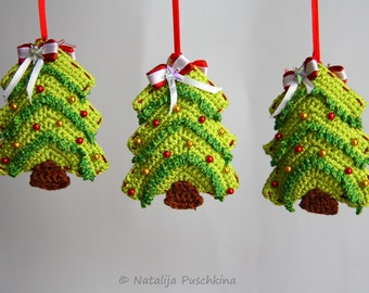 Crochet Pattern - Christmas Tree Ornament - Tutorial - easy crochet