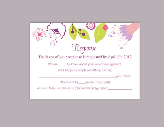 DIY Wedding RSVP Template Editable Word File