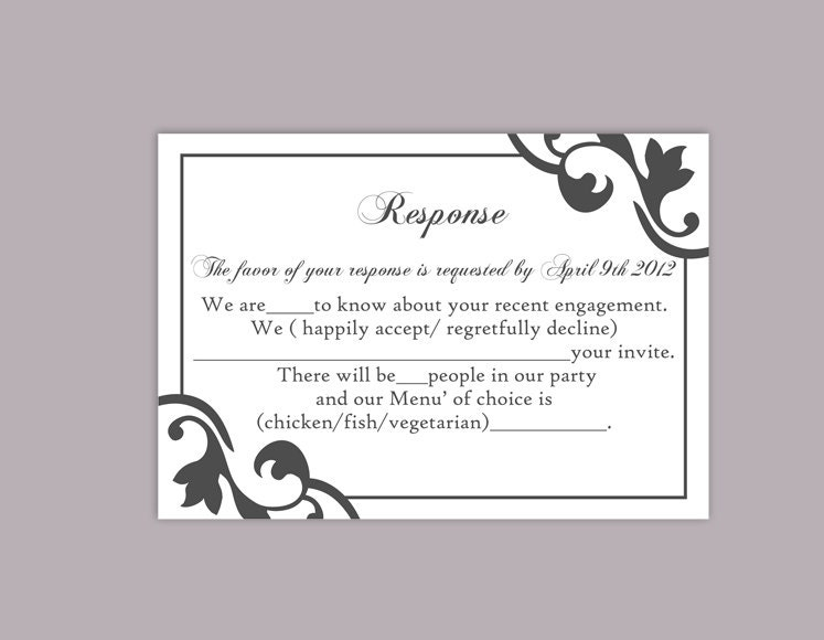 DIY Wedding RSVP Template Editable Text Word File Instant – Rsvp Card Template Word
