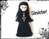 Living Dead Doll Custom Goth Fashion and Jewelry - Black GOWN and Skull Cross NECKLACE  - by dolls4emma