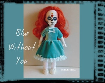 SALE = Living Dead Doll Clothes - Teal-Blue Velvet Baby-Doll DRESS - Handmade Fashion - by dolls4emma
