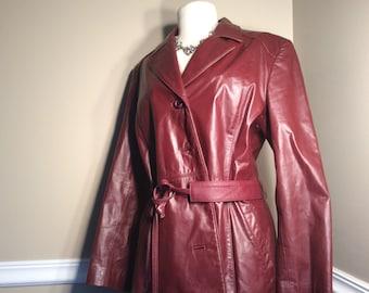 Vintage Etienne Aigner Burgundy leather Coat with belt