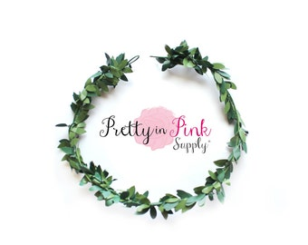 Green Leaf Crown Wreath- DIY Floral Crown- Leaf Crown- Unfinished Leaf Crown-Bridal Crown-Wedding Crown-Flower Girl Crown- DIY Wedding-