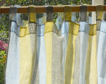 Great Striped Curtain Panel, Semi Sheer Gauzy Linen Kitchen Curtain, Pale Blue  Mustard Gray Tab