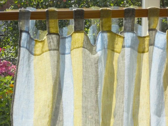 Striped Curtain Panel Semi Sheer Gauzy Linen Kitchen Curtain