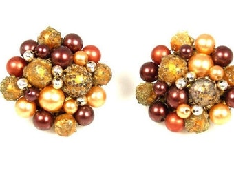 Cluster Bead Earrings Plumb Silver Peach Gold Glitter Marked Japan