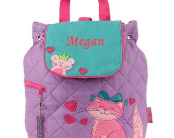 Purple Kitten Backpack with Free Embroidery - Stephen Joseph Kitty Quilted Backpack