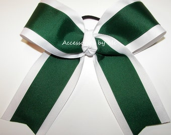 Bulk Price, Green White Cheer Bow, Green Ponytail Holder, Softball Bow, Volleyball Bow, Soccer Bows, Team School Colors, Cheerleader Bows