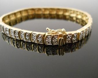 Paved Link Bracelet, Silver Bracelet, 7.5 Inch Bracelet, Sterling Bracelet, Gold Over Silver, 925 Bracelet, Gold Silver Bracelet