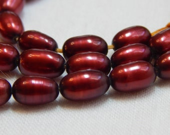 Burgundy Freshwater Rice Pearls