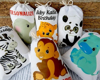 """Jungle Babies Animal Favor Bags for Baby Shower or Birthday Party for Treat's or gift Can be personalized 5"""" X 7"""" or 6"""" X 8"""" Qty 6"""